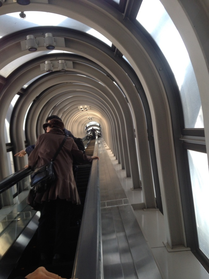 Rode a giant escalator to the top.