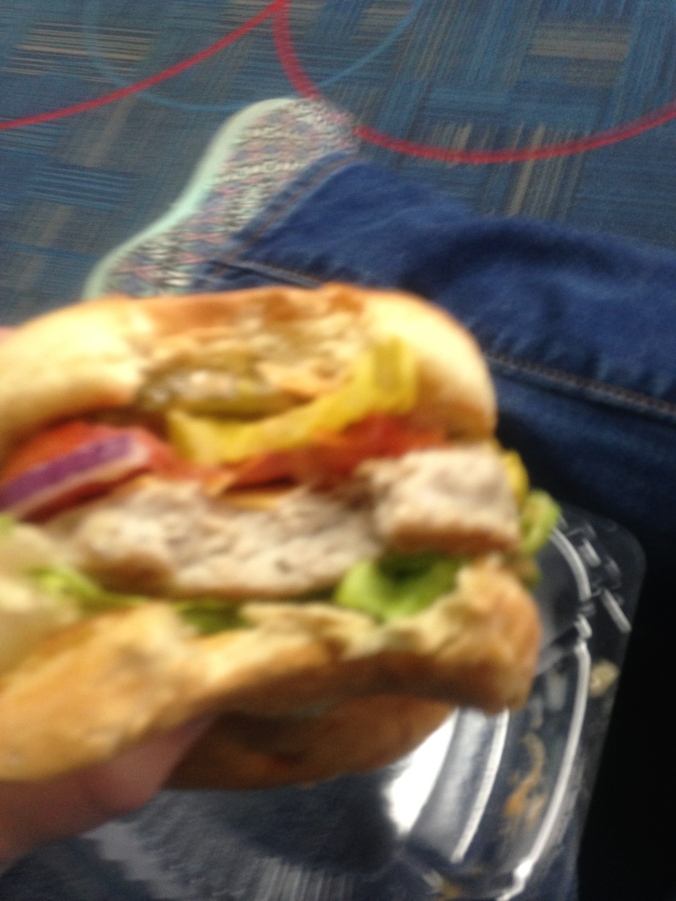 A delicious turkey burger.  I've missed turkey.