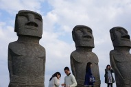 The replica-Moai statues.