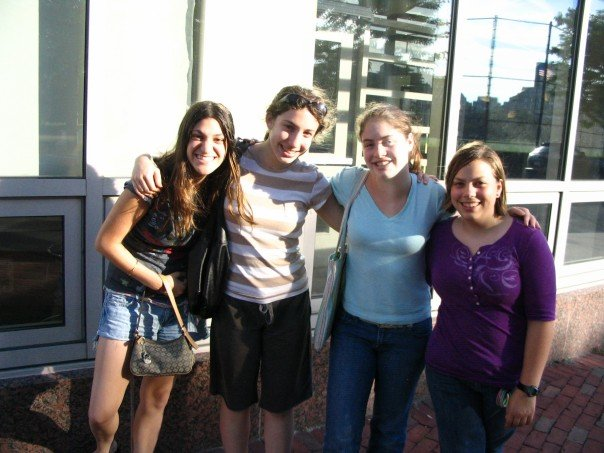 Hanging out with Michelle, Lauren, and Hannah in Boston.