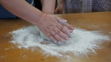 The teacher kneading it